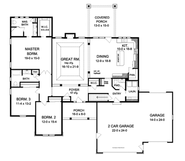 Colonial Floor Plan - Main Floor Plan Plan #1010-88