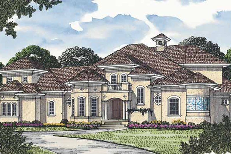 Dream House Plan - Mediterranean Exterior - Front Elevation Plan #453-574