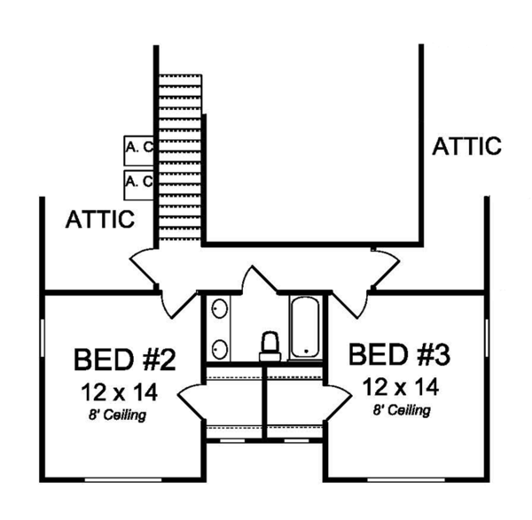 Traditional Floor Plan - Upper Floor Plan Plan #513-2158