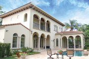 Mediterranean Style House Plan - 3 Beds 4.5 Baths 4509 Sq/Ft Plan #1058-14 Exterior - Rear Elevation