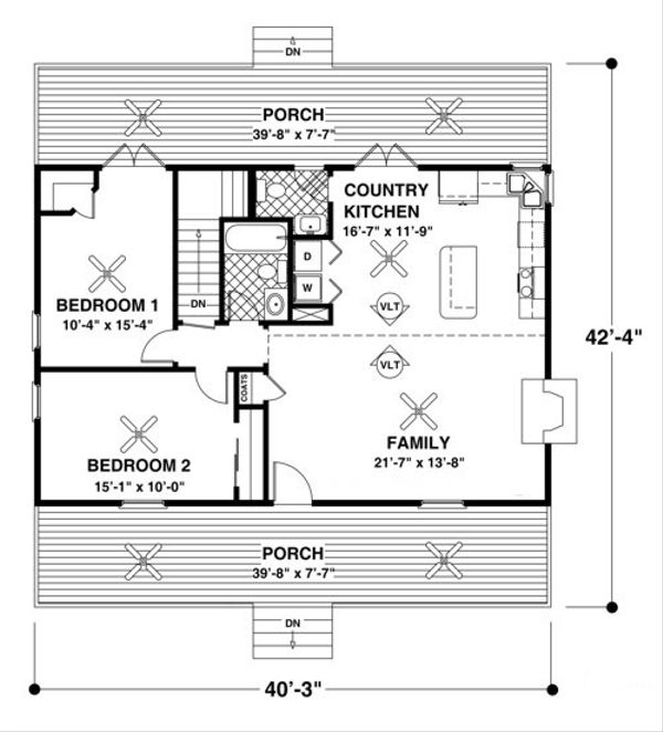 Country Floor Plan - Main Floor Plan Plan #56-697