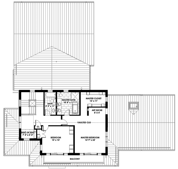 Prairie Style House Plan - 3 Beds 3 Baths 3219 Sq/Ft Plan #1042-18 Floor Plan - Upper Floor Plan