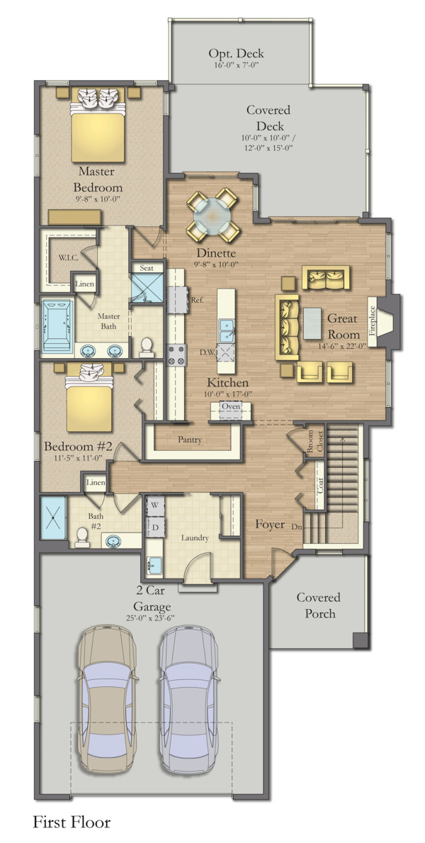 Craftsman Floor Plan - Main Floor Plan Plan #1057-16