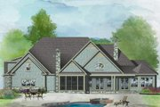 Ranch Style House Plan - 4 Beds 3 Baths 3369 Sq/Ft Plan #929-1019 Exterior - Rear Elevation