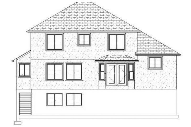 Traditional Exterior - Rear Elevation Plan #1060-19 - Houseplans.com