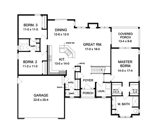 Ranch Floor Plan - Main Floor Plan Plan #1010-101