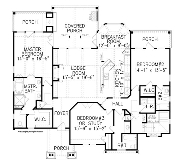 House Plan Design - Craftsman Floor Plan - Main Floor Plan #54-369