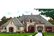 European Style House Plan - 4 Beds 3.5 Baths 3411 Sq/Ft Plan #310-695 Exterior - Front Elevation