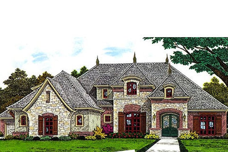 European Style House Plan - 4 Beds 3.5 Baths 3411 Sq/Ft Plan #310-695
