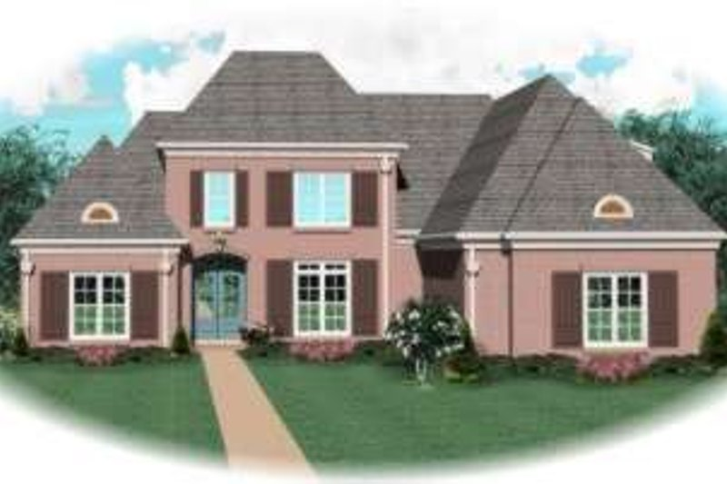 Traditional Style House Plan - 4 Beds 3.5 Baths 3525 Sq/Ft Plan #81-1205 Exterior - Front Elevation