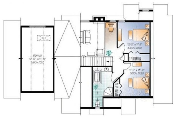 Craftsman Floor Plan - Upper Floor Plan Plan #23-2485