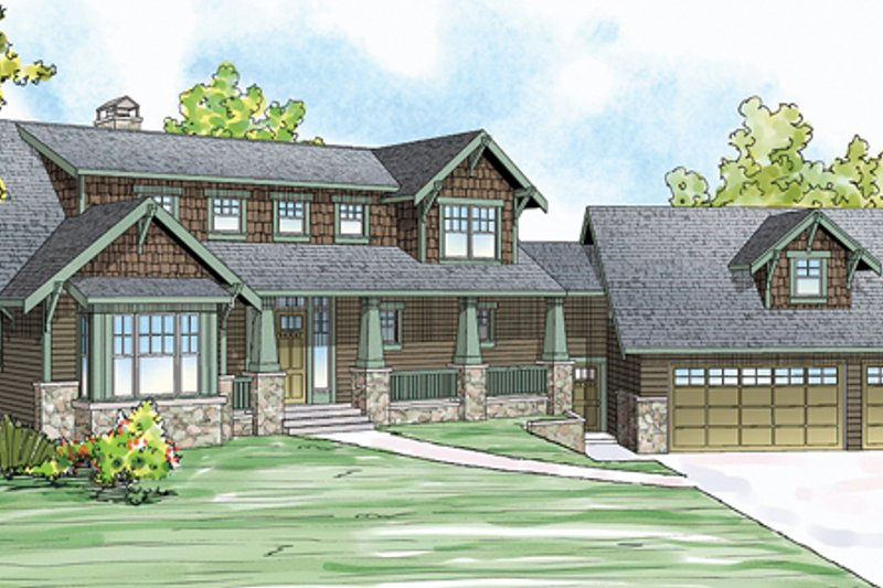 Craftsman Style House Plan - 3 Beds 3.5 Baths 2662 Sq/Ft Plan #124-880 Exterior - Front Elevation