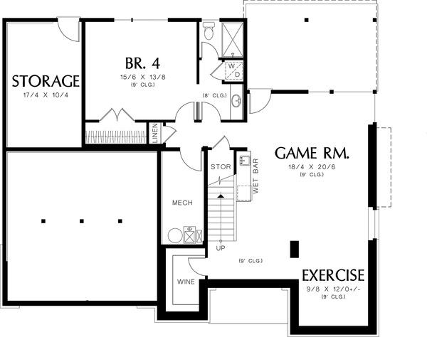 Lower Level Floor Plan - 3600 square foot Prairie home