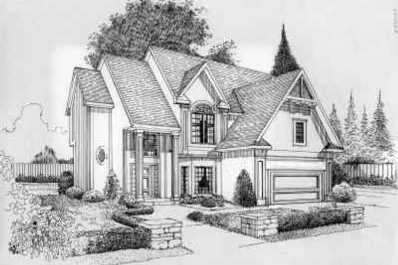 Traditional Style House Plan - 4 Beds 2.5 Baths 2384 Sq/Ft Plan #6-129 Exterior - Front Elevation