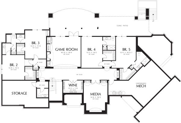 European Floor Plan - Lower Floor Plan Plan #48-362
