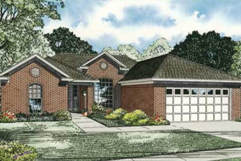 Traditional Style House Plan - 3 Beds 2 Baths 1703 Sq/Ft Plan #17-2283 Exterior - Front Elevation