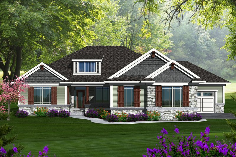 Ranch Exterior - Front Elevation Plan #70-1149