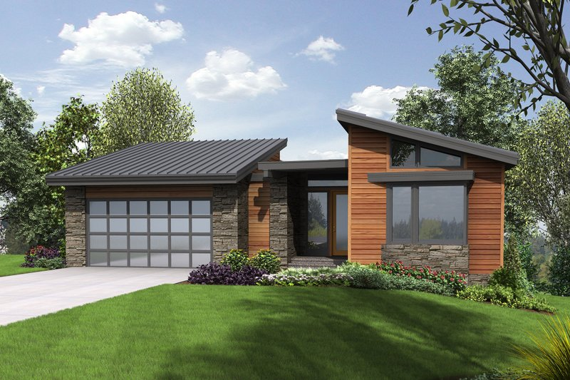 Modern Exterior - Front Elevation Plan #48-606