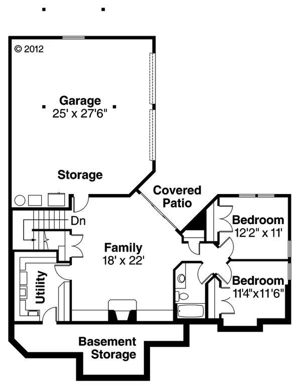 Craftsman Floor Plan - Lower Floor Plan Plan #124-622