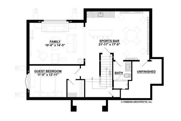 Traditional Floor Plan - Lower Floor Plan Plan #928-349