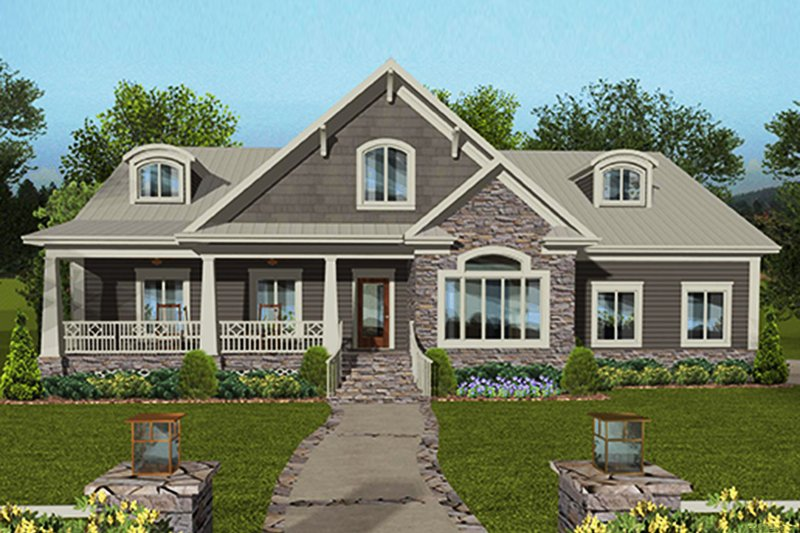Architectural House Design - Craftsman Exterior - Front Elevation Plan #56-712