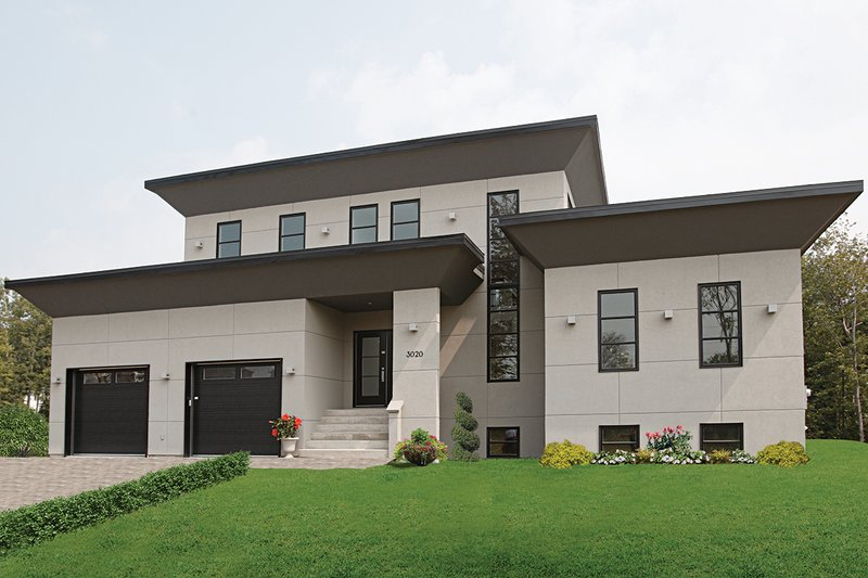 House Design - Front View - 3200 square foot Modern Home