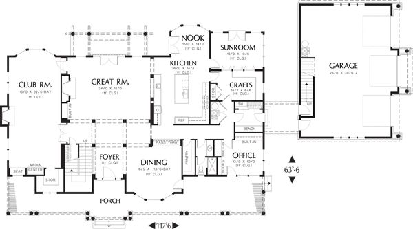 Colonial Floor Plan - Main Floor Plan Plan #48-151