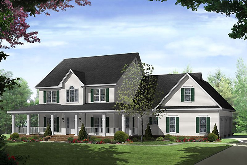 Country Style House Plan - 4 Beds 3.5 Baths 3000 Sq/Ft Plan #21-269 Exterior - Front Elevation