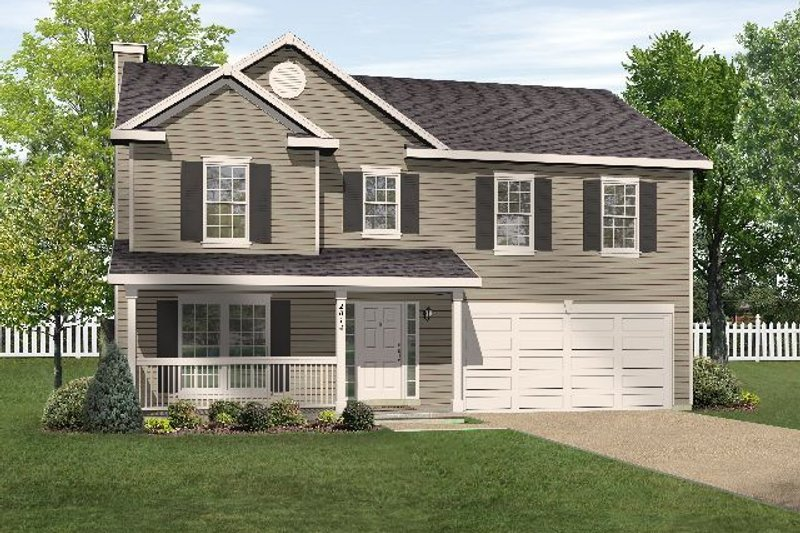 Country Style House Plan - 4 Beds 2.5 Baths 2547 Sq/Ft Plan #22-208 Exterior - Front Elevation