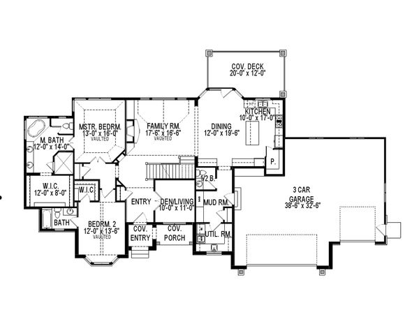 European Floor Plan - Main Floor Plan Plan #920-60