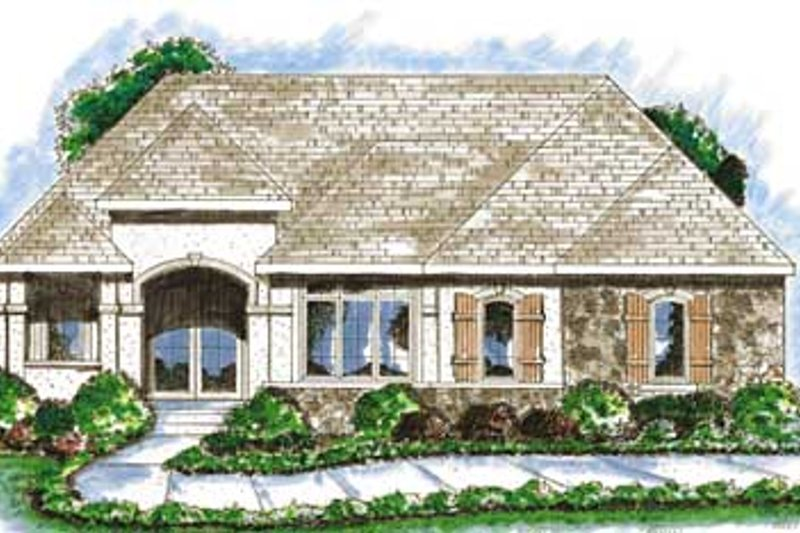 Mediterranean Exterior - Front Elevation Plan #20-1383