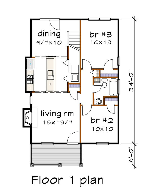 Cottage Floor Plan - Main Floor Plan Plan #79-140