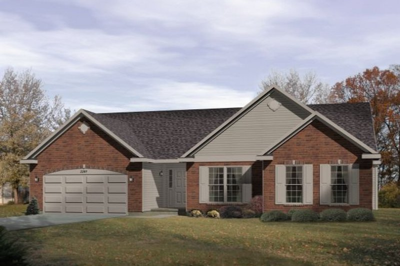 Traditional Style House Plan - 3 Beds 2 Baths 1895 Sq/Ft Plan #22-418 Exterior - Front Elevation