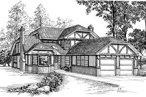 Tudor Exterior - Front Elevation Plan #47-400