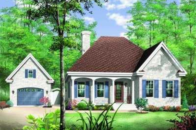 Farmhouse Style House Plan - 2 Beds 1 Baths 1072 Sq/Ft Plan #23-347 Exterior - Front Elevation