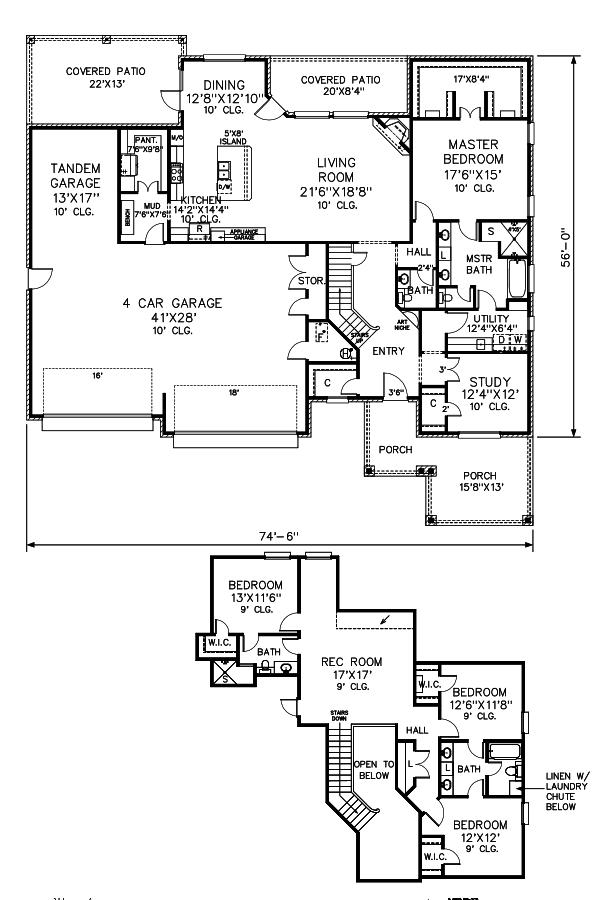 Craftsman Floor Plan - Main Floor Plan #65-541