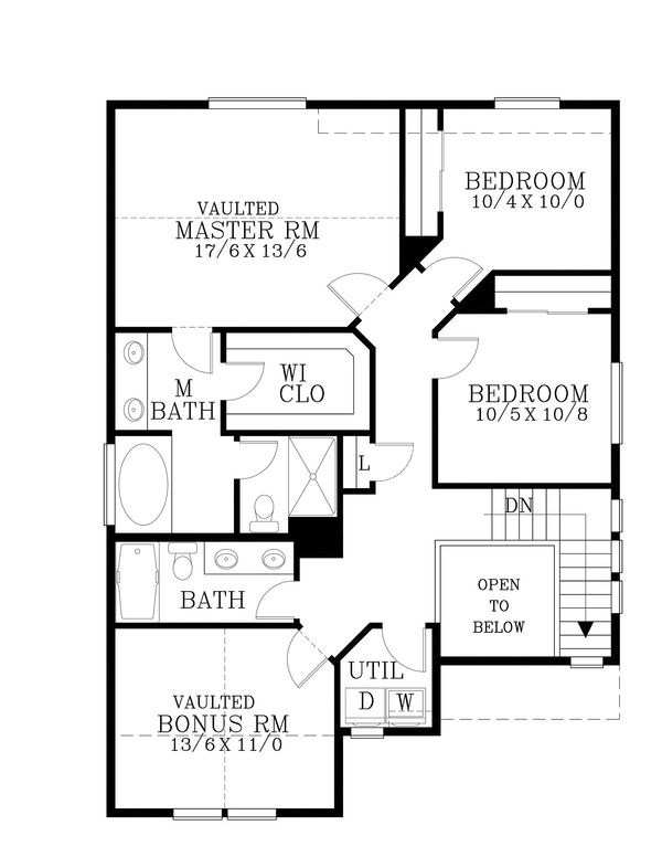 Craftsman Floor Plan - Upper Floor Plan Plan #53-503