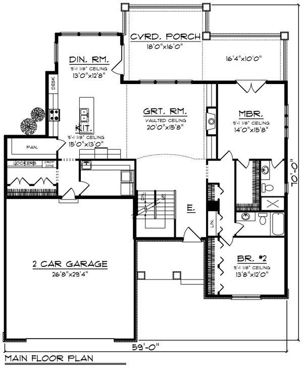 Craftsman Floor Plan - Main Floor Plan Plan #70-1251