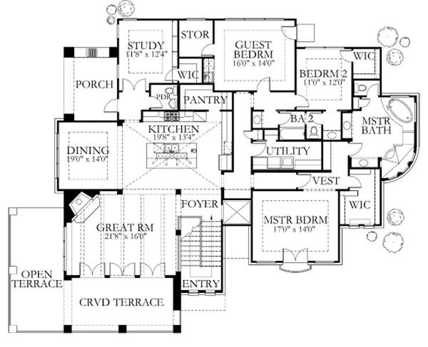 Dream House Plan - Mediterranean Floor Plan - Main Floor Plan #80-178