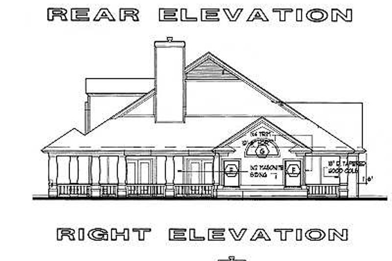 Country Exterior - Rear Elevation Plan #120-147 - Houseplans.com