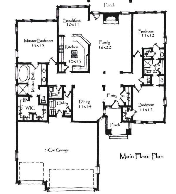 Craftsman Floor Plan - Main Floor Plan Plan #921-22