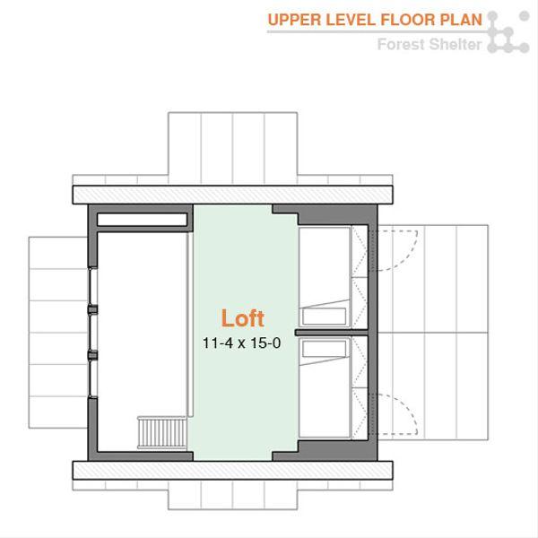 Cabin Floor Plan - Upper Floor Plan #556-2