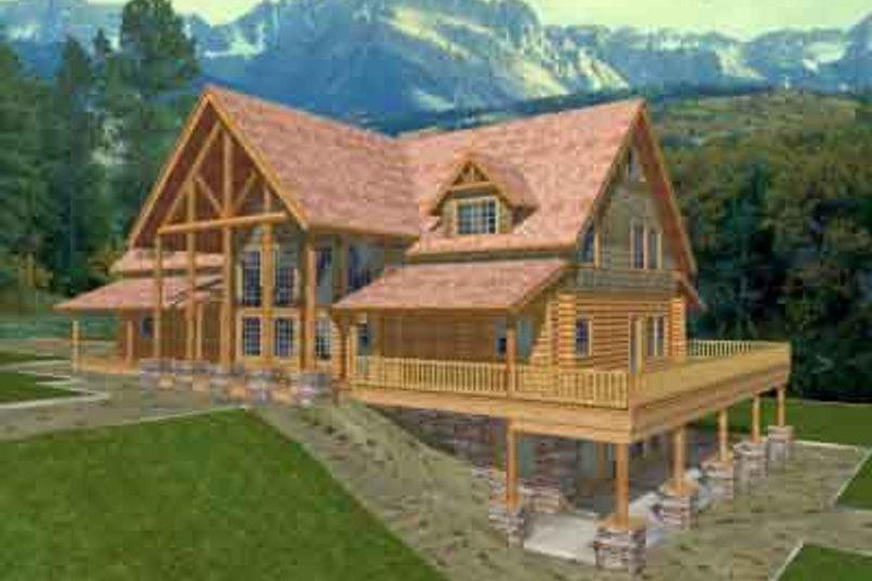 Dream House Plan - Log Exterior - Front Elevation Plan #117-111