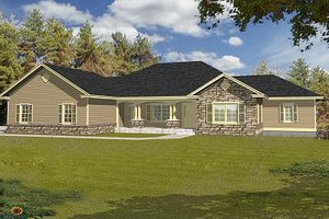 Ranch Exterior - Front Elevation Plan #112-140