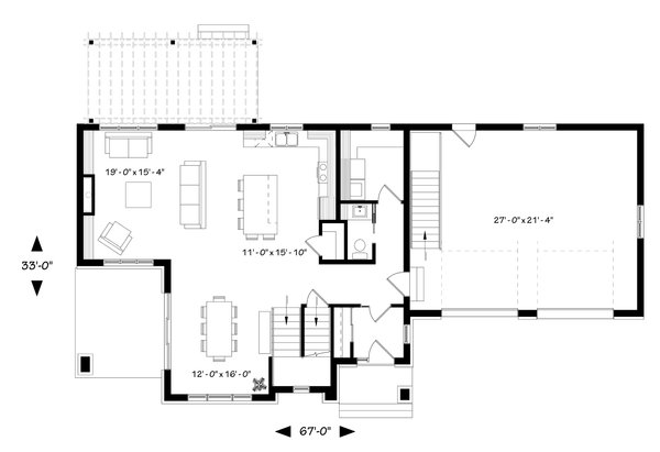 Modern Floor Plan - Main Floor Plan Plan #23-2309