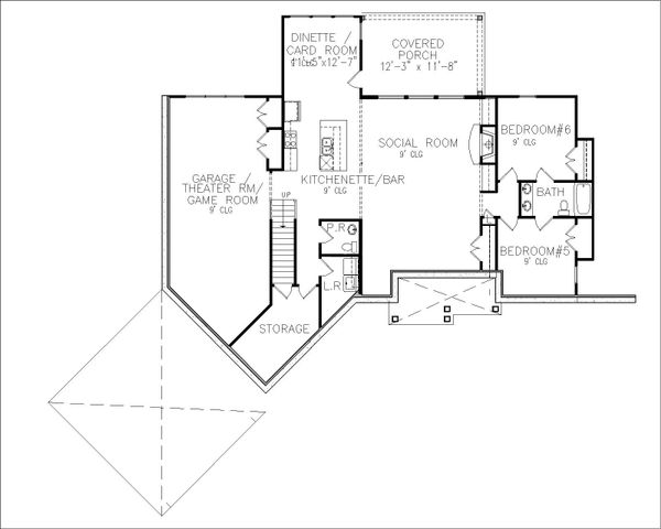 Craftsman Floor Plan - Lower Floor Plan #54-408