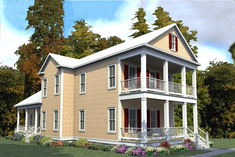 Farmhouse Exterior - Front Elevation Plan #63-378 - Houseplans.com
