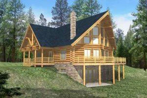 Log Exterior - Front Elevation Plan #117-397