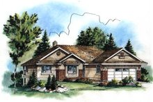 Ranch Exterior - Front Elevation Plan #18-1024