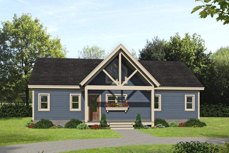 Country Style House Plan - 2 Beds 2 Baths 1357 Sq/Ft Plan #932-254 Exterior - Front Elevation
